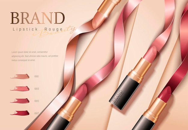 Mode lippenstift banner met linten in plat leggen, 3d illustratie op geometrische papier oppervlak