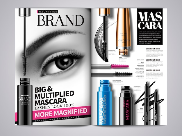 Mode make-up tijdschrift sjabloon illustratie