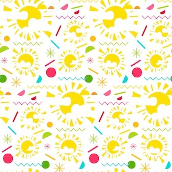 Mode memphis heldere naadloze patroon met zon
