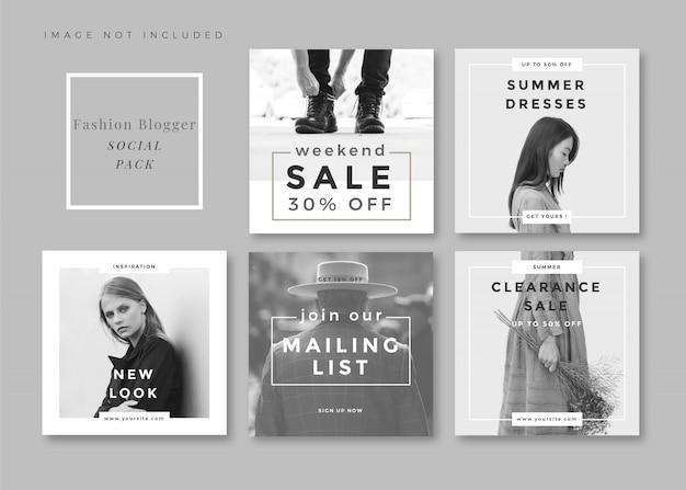 Mode minimalistische schone en eenvoudige vierkante sociale media-sjabloon