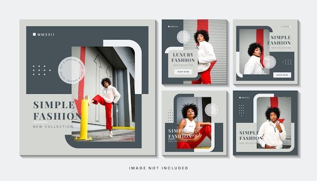 Mode minimalistische social media post-sjablooncollectie