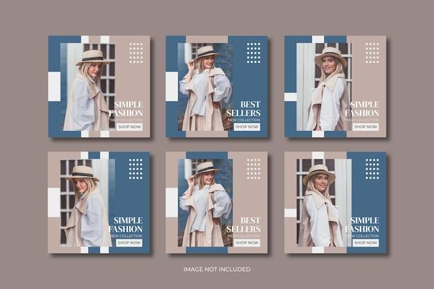 Mode minimalistische social media postsjabloon collectie