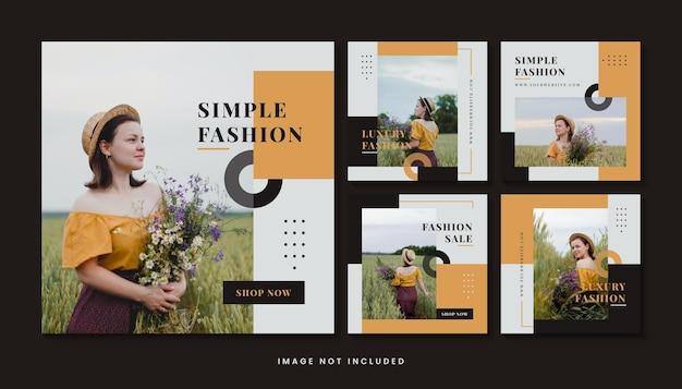 Mode minimalistische sociale media post-sjablooncollectie