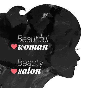 Mode mooie vrouw silhouet. aquarel vectorillustratie