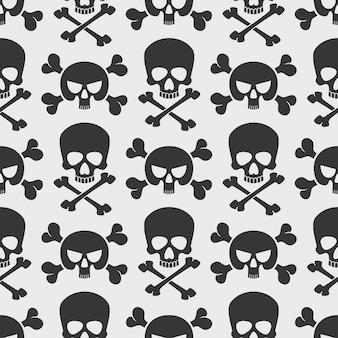 Mode naadloze patroon achtergrond met schedels en dwarsbeenderen.