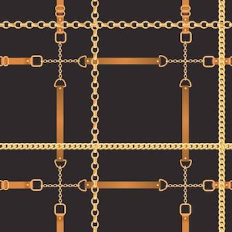 Mode naadloze patroon met gouden kettingen. stof ontwerp achtergrond met ketting, metalen accessoires en sieraden voor wallpapers, prenten. vector illustratie
