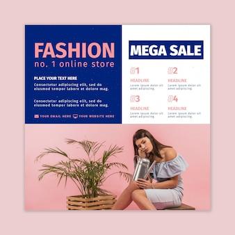 Mode online winkel kwadraat flyer-sjabloon