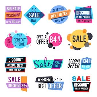 Mode ontwerp prijskaartjes en korting labels vector sjablonen met kleur vermenigvuldigen effect. Verkoop en beste aanbieding speciale illustratie