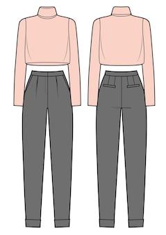 Mode-outfit klassieke broek en coltrui