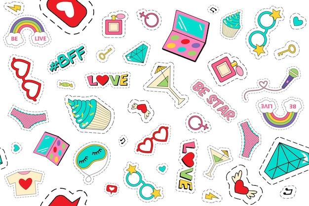 Mode patches doodle set geïsoleerd op wit