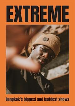 Mode poster sjabloon vector met zwarte man