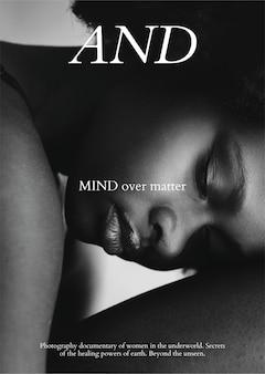 Mode poster sjabloon vector met zwarte vrouw