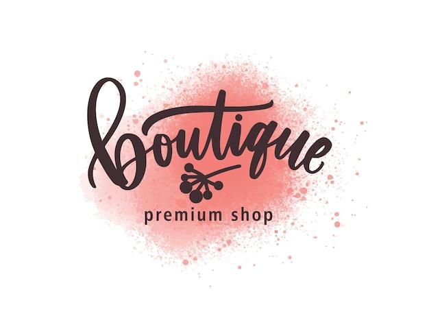 Mode premium winkel logo vectorillustratie. luxe kledingwinkel aquarel logo, labelontwerp. inscriptie op verf roze splatters achtergrond. boutique belettering met aquarel penseelstreken. Premium Vector