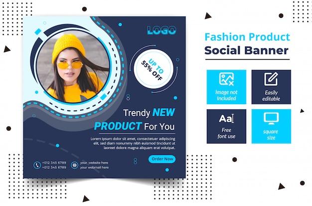 Mode productaanbieding post sjabloon voor vierkante spandoek