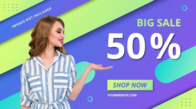Mode promotie winkel banner verloop ontwerp moderne sjabloon