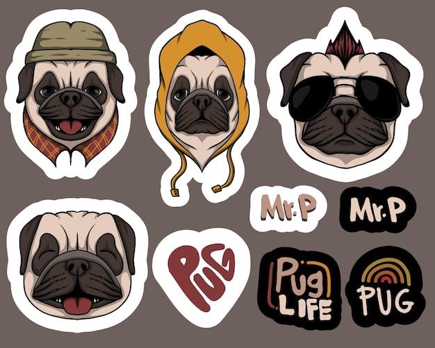 Mode pug hond stickers illustratie