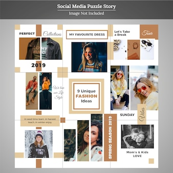Mode-puzzel social media post-sjabloon voor marketing