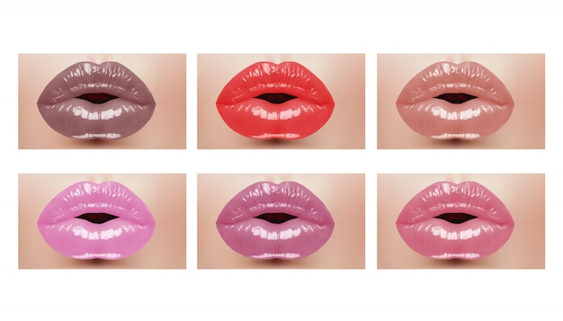 Mode realistische vrouw mond met kleur lippen. vector illustratie