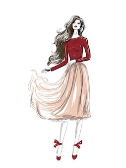 Mode romantische outfit met golvende rok schets