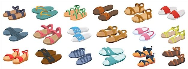 Mode sandaal illustratie ingesteld op witte achtergrond.