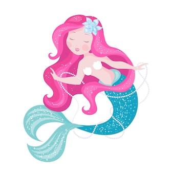 Mode schattige zeemeermin. meisje print