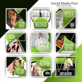 Mode sociale media marketing post sjabloon set