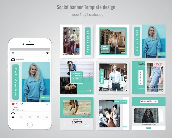 Mode sociale media post sjabloon