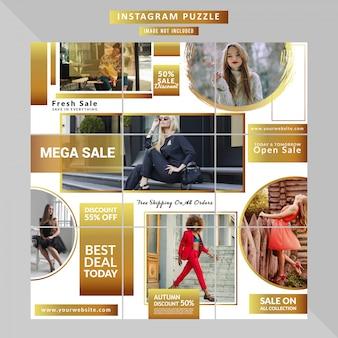 Mode sociale media puzzel sjabloon