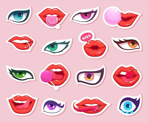 Mode stickers. sexy vrouwenlippen met snoep en ogenstrippagina die retro stickers van de mondmake-up glimlachen