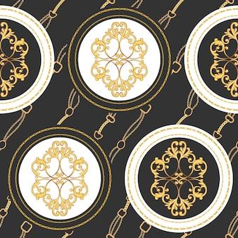 Mode stof naadloze patroon met gouden kettingen, riemen en riemen. luxe barokke achtergrond fashion design met sieraden elementen voor textiel, behang, sjaal. vector illustratie