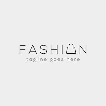 Mode tas shoping eenvoudige tekst logo type sjabloon vector illustratie pictogram element - vector