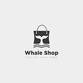 Mode tas winkelen met walvis eenvoudig logo type sjabloon vector illustratie pictogram element - vector