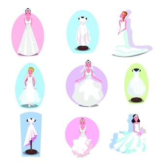 Mode trouwjurken op een etalagepop en bruiden.