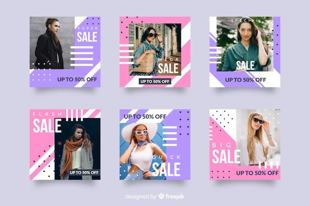 Mode verkoop abstracte instagram post set