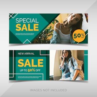 Mode verkoop banner collectie met groene geometrische vormen