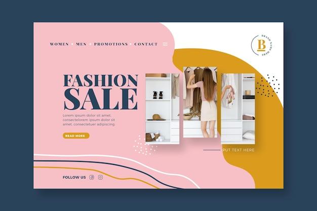 Mode verkoop bestemmingspagina vrouw bij haar garderobe