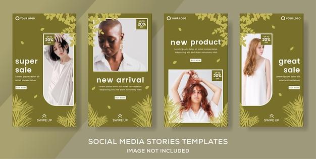 Mode verkoop concept natuur banner sjabloon verhalen post premium vector