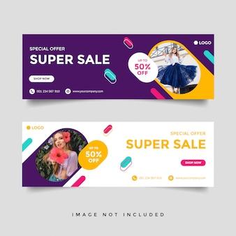 Mode verkoop facebook cover banner sjabloon
