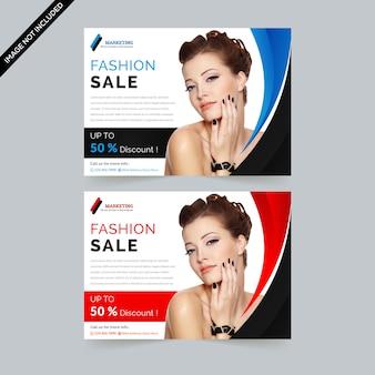 Mode verkoop horizontale flyer premium vector