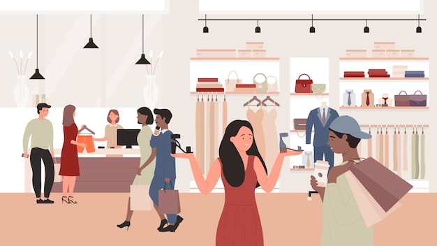 Mode verkoop in kledingwinkel illustratie. man vrouw klant tekens met behulp van korting speciale aanbiedingen, kopers mensen kopen nieuwe kleding in mode winkel, winkelcentrum achtergrond