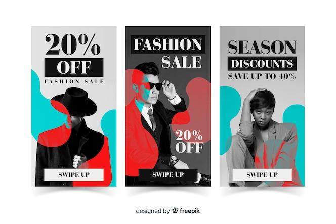 Mode verkoop instagram verhalen collectie
