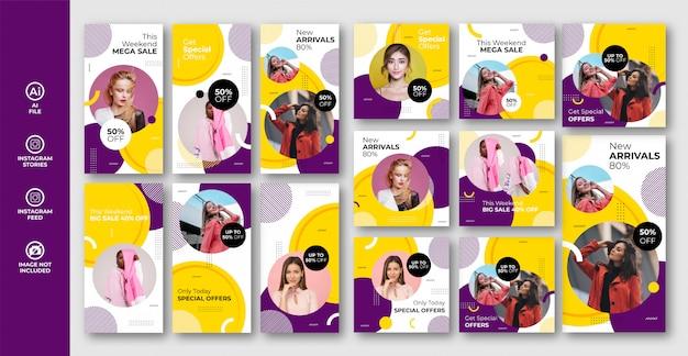Mode verkoop instagram verhalen en post banner set