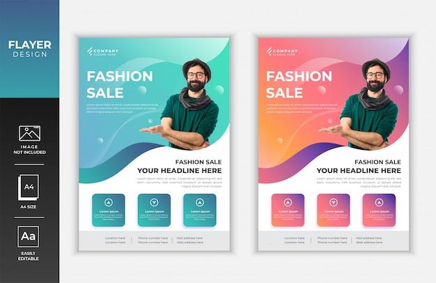 Mode verkoop kleurrijke gradiënt creatieve a4 flyer sjabloonontwerp