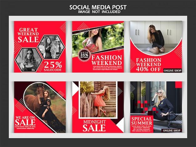 Mode verkoop korting sociale media bericht sjabloon
