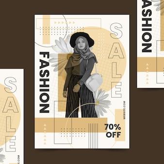 Mode verkoop poster sjabloon met model