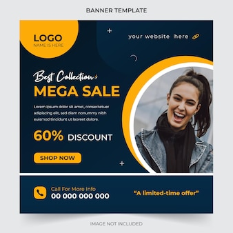 Mode verkoop social media post en webbanner ontwerpsjabloon premium vector