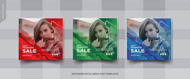 Mode verkoop sociale medai post sjabloon set