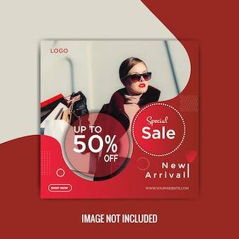 Mode verkoop sociale media berichten ontwerpsjabloon premium vector