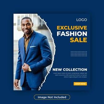 Mode verkoop sociale media instagram post of winkel vierkante sjabloon voor spandoek
