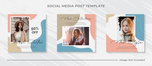 Mode verkoop sociale media post sjabloon set